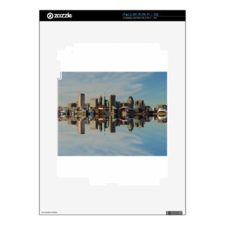 Downtown Baltimore Maryland Skyline Reflection Decals For iPad 2