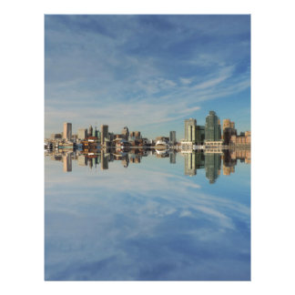 Downtown Baltimore Maryland Skyline Reflection Letterhead