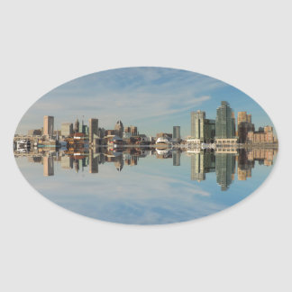 Downtown Baltimore Maryland Skyline Reflection Oval Sticker
