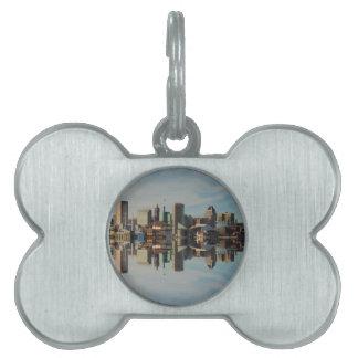 Downtown Baltimore Maryland Skyline Reflection Pet Name Tag