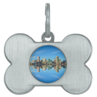 Downtown Baltimore Maryland Skyline Reflection Pet Tag