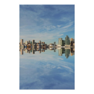 Downtown Baltimore Maryland Skyline Reflection Stationery
