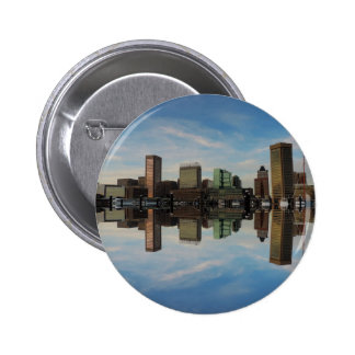 Downtown Baltimore Maryland Sunset Skyline Reflect Button