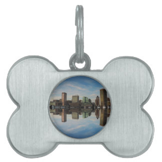 Downtown Baltimore Maryland Sunset Skyline Reflect Pet ID Tag