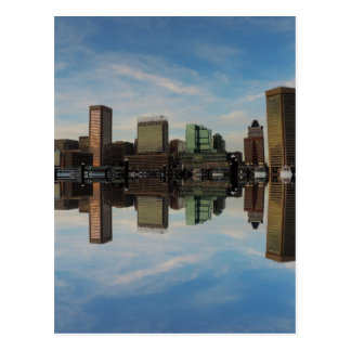 Downtown Baltimore Maryland Sunset Skyline Reflect Postcard