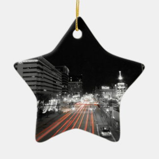 Downtown Baltimore Traffic at Night Christmas Ornament
