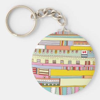 Downtown Basic Round Button Keychain