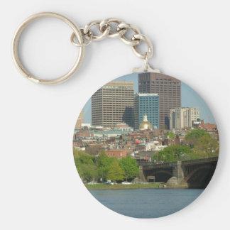 Downtown Boston Basic Round Button Keychain