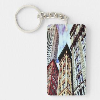 Downtown Boston Single-Sided Rectangular Acrylic Keychain