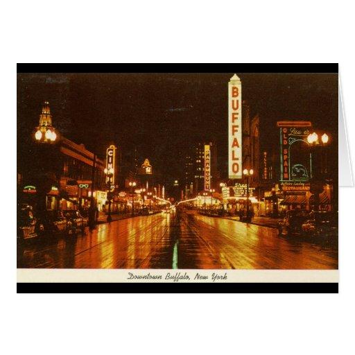 Downtown Buffalo NY at Night Vintage Greeting Card
