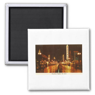 Downtown Buffalo NY at Night Vintage 2 Inch Square Magnet