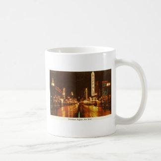 Downtown Buffalo NY at Night Vintage Classic White Coffee Mug