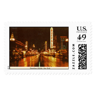 Downtown Buffalo NY at Night Vintage Postage