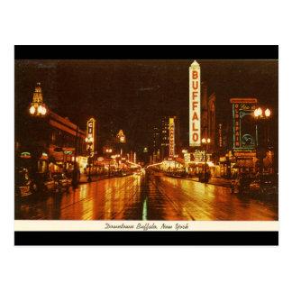 Downtown Buffalo NY at Night Vintage Postcard