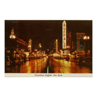 Downtown Buffalo NY at Night Vintage print