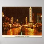 Downtown Buffalo NY at Night Vintage Poster