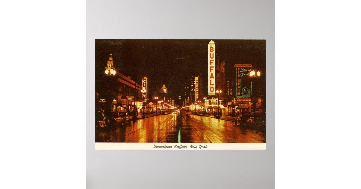 Downtown buffalo ny at night vintage poster zazzle for Craft stores buffalo ny
