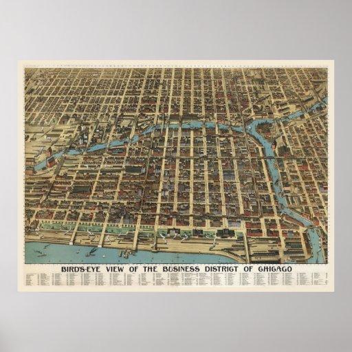 Downtown Chicago, 1898 (Poole Bros) BigMapBlog.com Poster