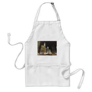Downtown Chicago at Night Aprons