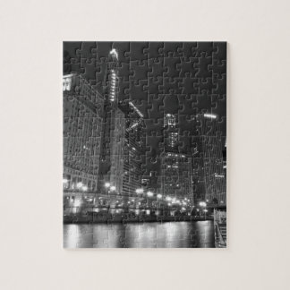 Downtown Chicago Black and White Jigsaw Puzzle