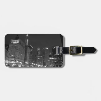 Downtown Chicago Black and White Bag Tag