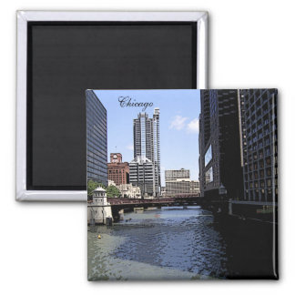 Downtown Chicago by River 2 Inch Square Magnet