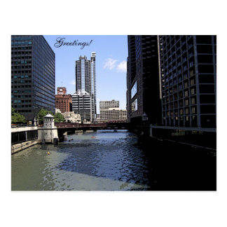 Downtown Chicago by River Postcard