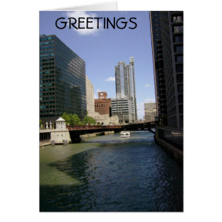 Downtown Chicago By The Canal Card