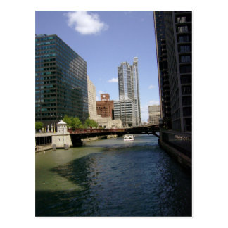 Downtown Chicago By The Canal Postcard