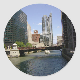 Downtown Chicago by the River Classic Round Sticker
