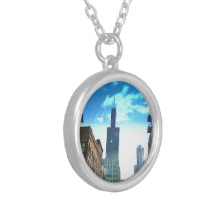 Downtown Chicago Drive Silver Plated Necklace