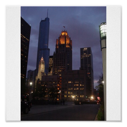 Downtown Chicago, IL at Night on Canvas Poster
