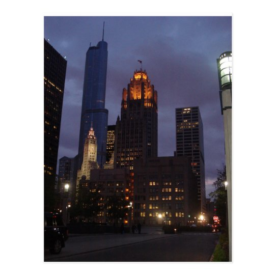Downtown Chicago, IL at Night Postcard