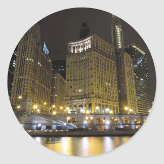 Downtown Chicago on the Chicago River at Night Classic Round Sticker