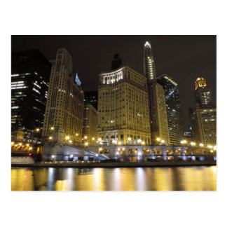 Downtown Chicago on the Chicago River at Night Postcard