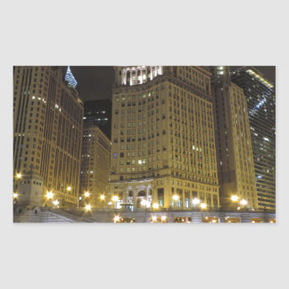Downtown Chicago on the Chicago River at Night Rectangular Sticker