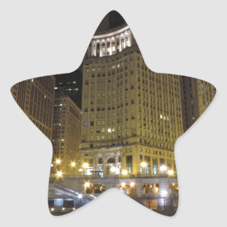 Downtown Chicago on the Chicago River at Night Star Sticker