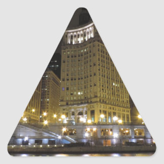 Downtown Chicago on the Chicago River at Night Triangle Sticker