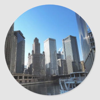 Downtown Chicago on the Chicago River Classic Round Sticker