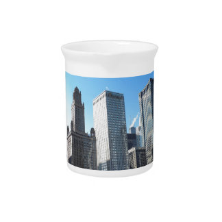 Downtown Chicago on the Chicago River Drink Pitcher
