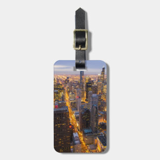 Downtown Chicago skyline at dusk Bag Tag