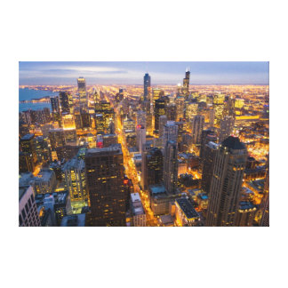 Downtown Chicago skyline at dusk Gallery Wrap Canvas