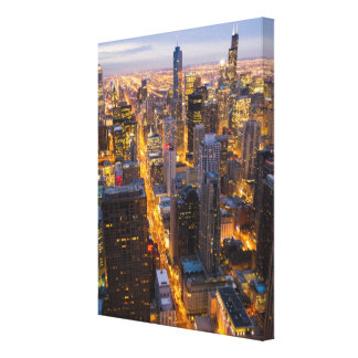 Downtown Chicago skyline at dusk Gallery Wrapped Canvas