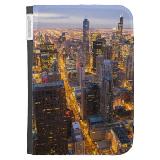 Downtown Chicago skyline at dusk Kindle Folio Case