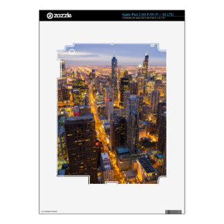 Downtown Chicago skyline at dusk Decal For iPad 3