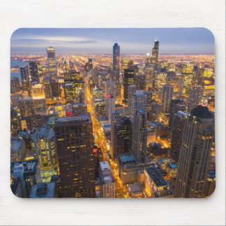 Downtown Chicago skyline at dusk Mouse Pad