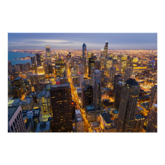 Downtown Chicago skyline at dusk Poster