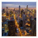 Downtown Chicago skyline at dusk Print