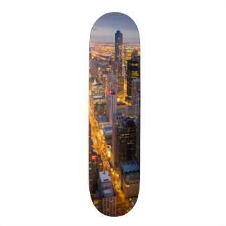 Downtown Chicago skyline at dusk Skate Decks