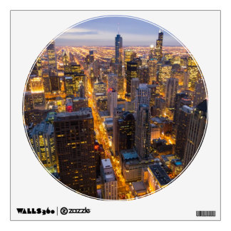Downtown Chicago skyline at dusk Wall Decal